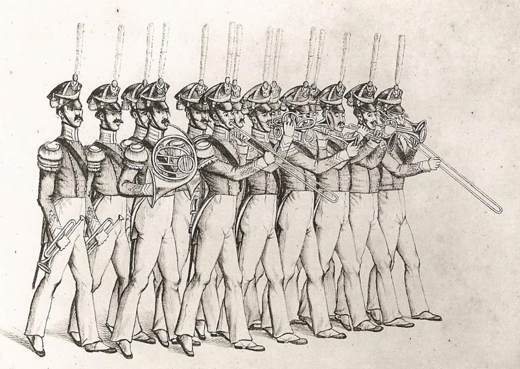 Sjællandske Jægerkorps musikkorps litografi 1817 - 1835