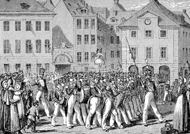 VAGTPARADEN ved KØBENHAVNS HOVEDVAGT på Kgs. Nytprv 1820